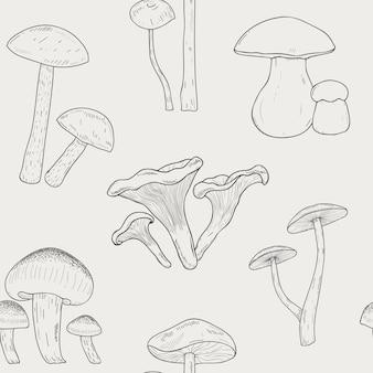 Cogumelos diferentes delinear padrão sem emenda. mão-extraídas fungos.