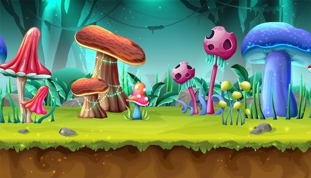 Cogumelos em paisagem mágica