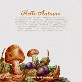 Cogumelos, folhas e bolotas de aquarela