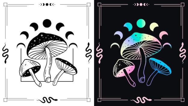 Cogumelos mágicos e fases da lua para designs de temas esotéricos