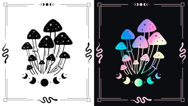 Cogumelos mágicos e lua para tema esotérico