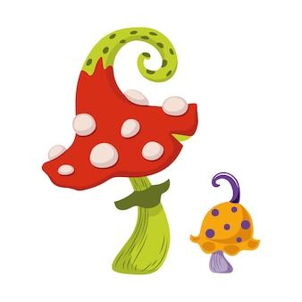 Cogumelos mágicos para o halloween. ilustração vetorial de desenho animado