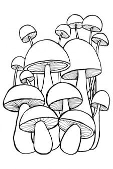 Cogumelos rabiscos para livro de colorir.