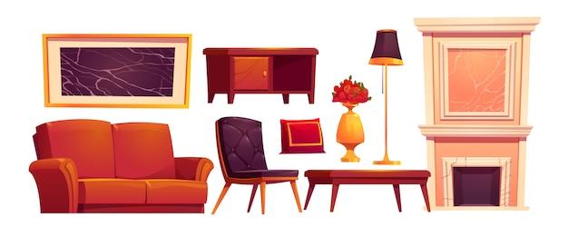 Coisas antigas de luxo da sala de estar