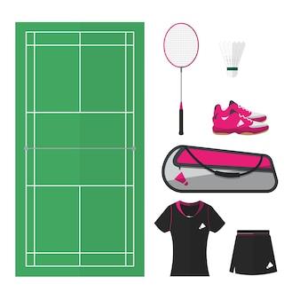 Coisas de badminton, vista de cima da quadra e equipamentos femininos. design plano simples.