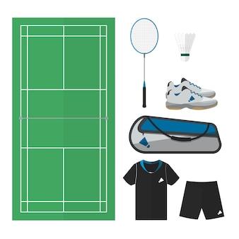 Coisas de badminton, vista de cima da quadra e equipamentos masculinos. design plano simples.