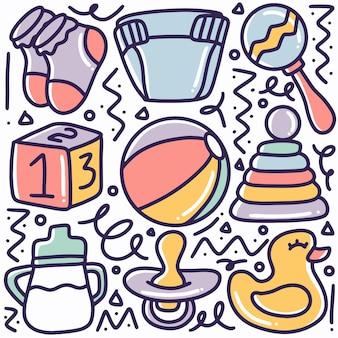 Coisas de bebê desenhadas à mão, doodle com ícones e elementos de design