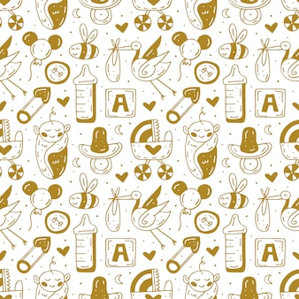 Coisas de cuidados com o bebê, roupas, brinquedos dos desenhos animados mão desenhada doodle bonito
