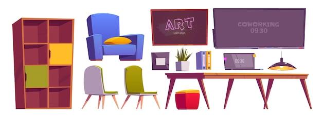 Coisas de interiores de espaço de coworking, móveis e equipamentos para laptop