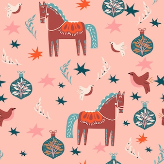 Coisas de natal e padrão sem emenda de cavalo para embrulho de tecido ou papel digital cores modernas bolas desenhadas