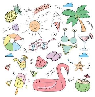 Coisas de praia em ilustração em vetor estilo doodle