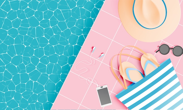 Coisas de praia estilo de arte de papel com cor pastel