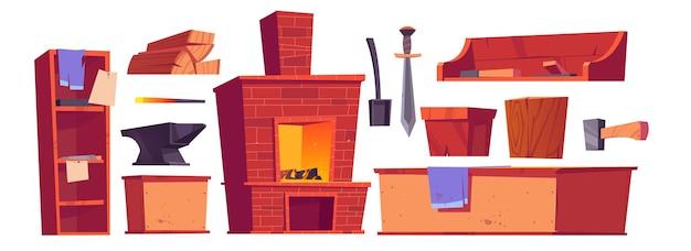 Coisas e móveis de forja ou ferreiro, forno a lenha, espada, bigorna, pá e martelo com toras de madeira