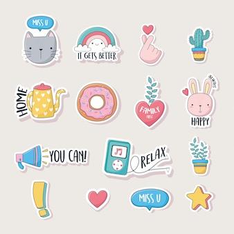 Coisas fofas para cartões adesivos ou patches decoração conjunto de ícones dos desenhos animados