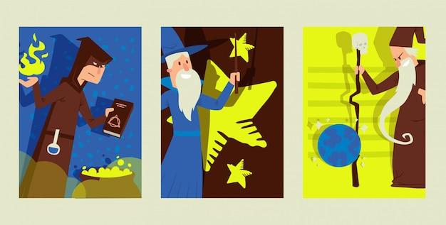 Coisas mágicas, personagem masculino assistente, antiga feitiçaria, caldeirão mágico, ilustração plana. treinamento mágico de neófito, mago diferente.