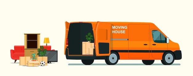 Coisas na caixa do porta-malas da van de carga. mudança de casa. ilustração do estilo simples.