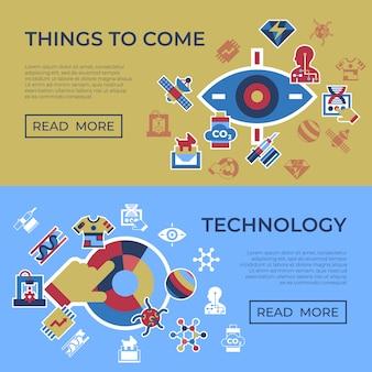 Coisas quânticas para vir conjunto de ícones de tecnologia