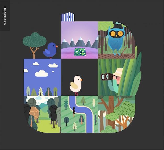 Coisas simples - composição de conjunto de floresta