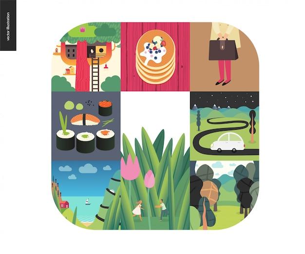 Coisas simples, conjunto de composição de cores