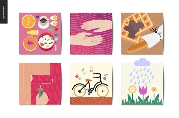 Coisas simples - conjunto de ilustrações