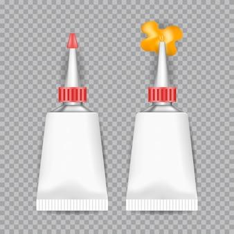 Cola de tubos branco realista isolada em fundo transparente. ilustração.