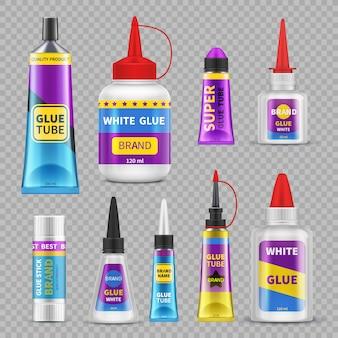 Cola em bastões. tubos e garrafas de super cola adesiva. conjunto realista vector isolado