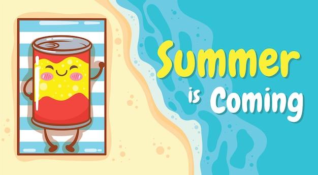 Cola fofa relaxando na praia com um banner de saudação de verão