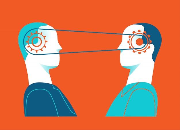 Colaboração e sinergia. as mentes conectadas de duas pessoas