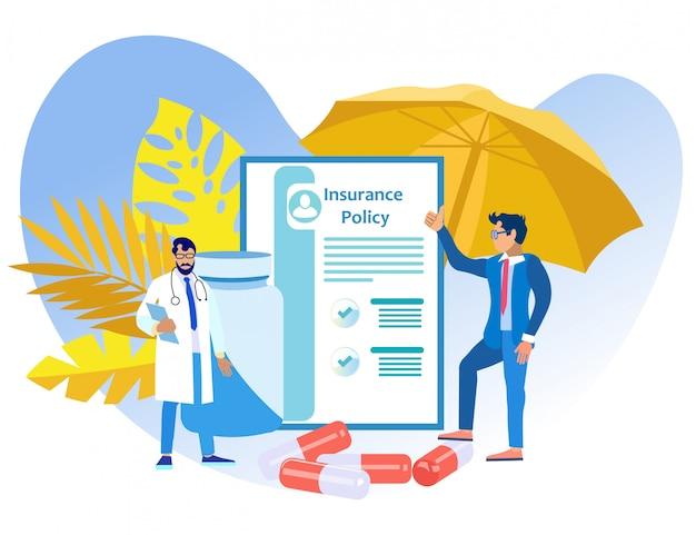 Colaboração entre médico e agente de seguros. .