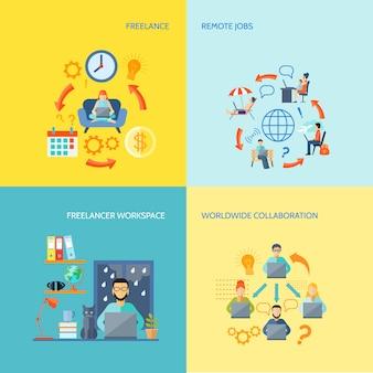 Colaboração no espaço de trabalho do freelancer em todo o mundo e trabalhos remotos