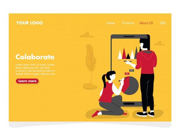Colaborar ilustração para página de destino