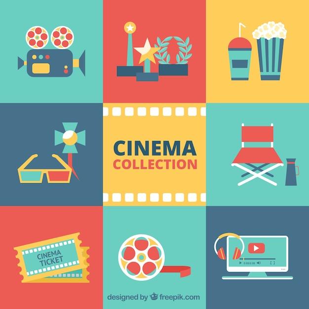 Colagem cinema em design plano