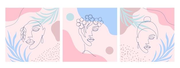 Colagem com rostos femininos e folhas para postagens nas redes sociais