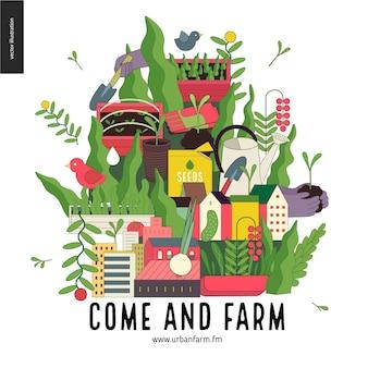 Colagem de agricultura urbana e jardinagem