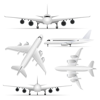 Colagem de avião branco de diferentes pontos de vista