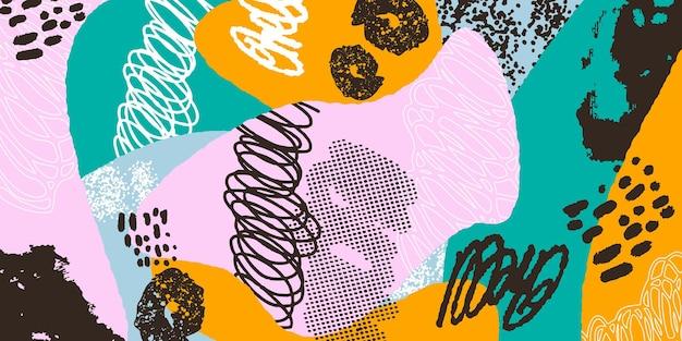 Colagem de cabeçalho de fundo colorido com diferentes formas e texturas