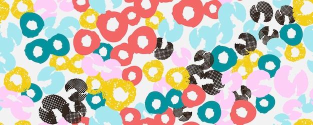 Colagem de cabeçalho de fundo colorido sem costura com diferentes formas e texturas