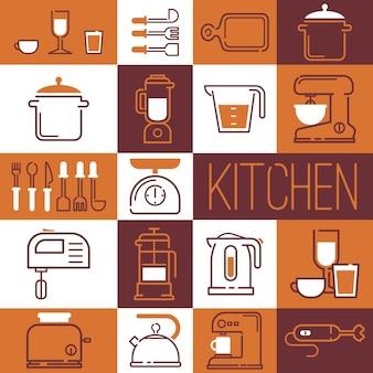 Colagem de cozinha fornece ícones e adesivos