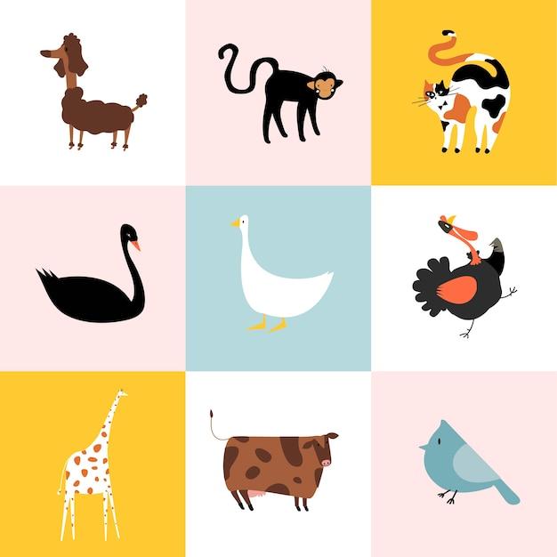 Colagem de diferentes tipos de animais