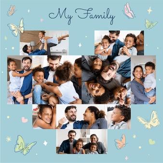 Colagem de fotos de coração e layout de família fofa