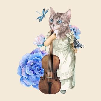 Colagem de ilustração de gato vintage, vetor de colagem, arte de mídia mista