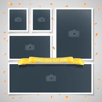Colagem de ilustração vetorial de molduras de fotos, plano de fundo. molduras em branco para inserção de fotos