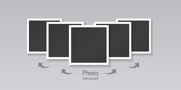 Colagem de modelos de imagens quadradas pretas com borda branca e setas de direção para deslizar