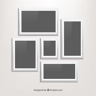 Colagem de moldura branca com design plano