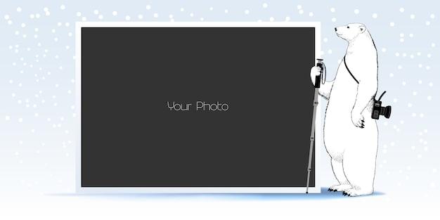 Colagem de moldura de foto, álbum de recortes de inverno ou ilustração de natal