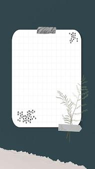 Colagem de moldura de foto instantânea de vetor de nota digital com papel quadriculado