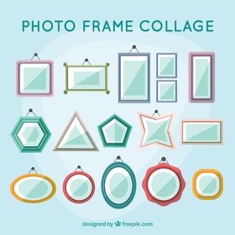 Colagem de moldura foto colorida com design plano