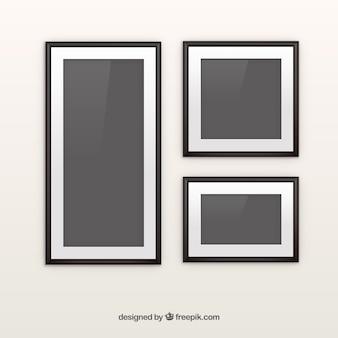 Colagem de moldura preta foto com design plano