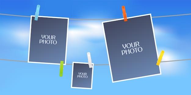 Colagem de molduras de fotos ou álbum de recortes