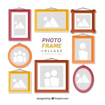 Colagem de molduras para fotos com design plano